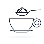 Sugar spoon icon line symbol. Isolated vector illustration of icon sign concept for your web site mobile app logo UI design. Coffee or tea cup and spoon with nutrition. Breakfast or cafe icon.