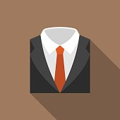 Suit and tie icon with long shadow, flat design
