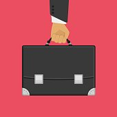 Man hand holding briefcase, suitcase. Businessman bag. Vector business concept in flat style.