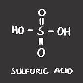 Freehand illustration of the Sulfuric acid formula on dark background