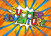 Summer Adventure - Comic book style word on comic book abstract background.