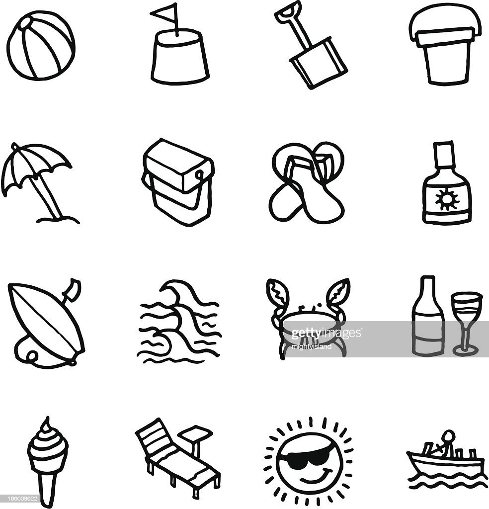 Summer and beach icon set : Vector Art