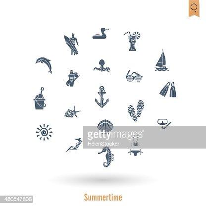 Praia de Verão e simples de ícones plana : Arte vetorial