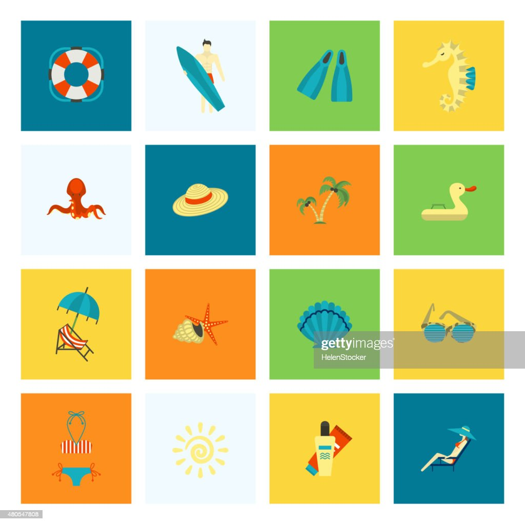 Summer and Beach Simple Flat Icons : Vector Art