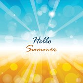 Summer background with Hello summer text