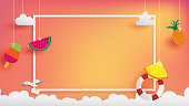 summer banner as horizontal frame contain white border ,sunset light shining on background and all objects floating over cloud, objects are hanging by string such as ice creme, pineapple  watermelon