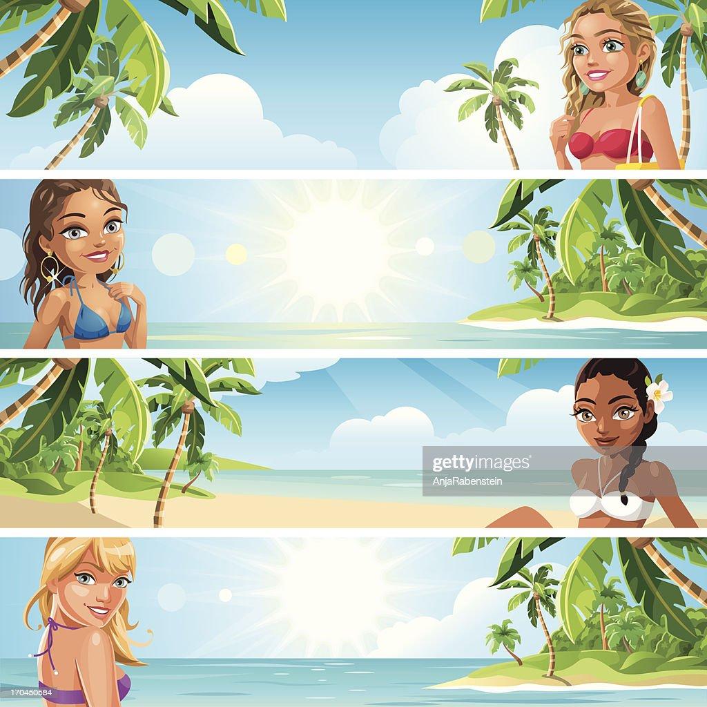 Summer Banner - Beautiful Woman wearing Swimwear at Tropical Beach : Vector Art