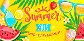 Summer banner with symbols for summertime such as ice cream,watermelon,strawberries,glasses.Hand drawn lettering for template card, wallpaper,flyer,invitation, poster,brochure.Vector illustration