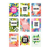 Summer banners set, Malibu, Hawaii tropical vacation and holidays poster vector Illustrations isolated on a white background