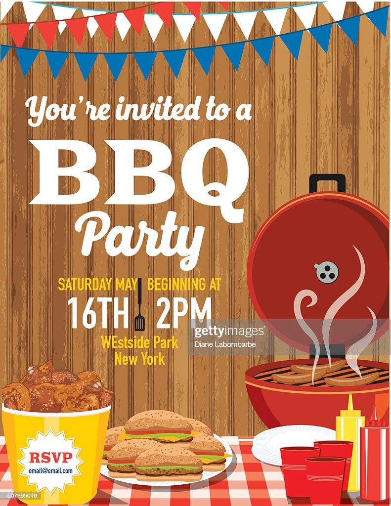 summer bbq party invitation template vector art