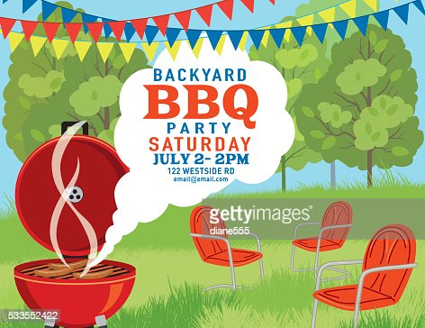 Retro Style Bbq Party Invitation Template Vector Art Getty Images - Backyard bbq party cartoon