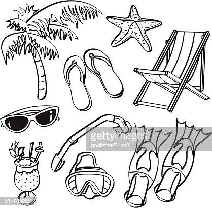 Strand clipart schwarz weiß  Sommerstrandelemente Vektorgrafik | Thinkstock