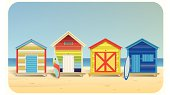 Vector illustration of a color stripe beach huts. With surfboards and beach enviroment. EPS10 File. All elements are in separate layers . Easy to modify