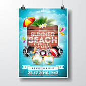 Vector Summer Beach Party Flyer Design with typographic elements on wood texture background. Summer nature floral elements and sunglasses. Eps10 illustration. Image contain transparency.