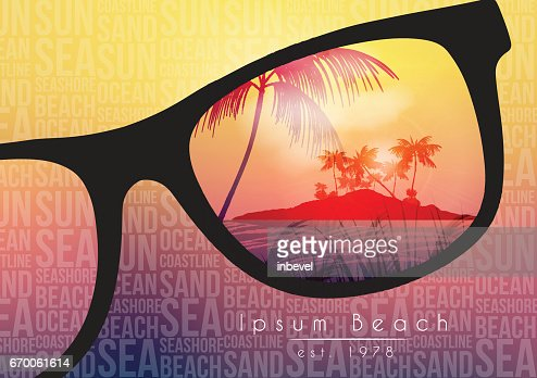Summer Beach Party Flyer Design with Sunglasses on Blurred Background - Vector Illustration : arte vetorial
