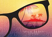 Summer Beach Party Flyer Design with Sunglasses on Blurred Background - Vector Illustration