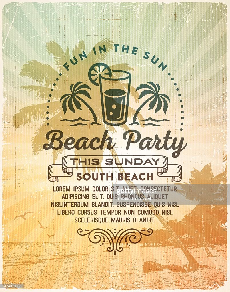 Summer Beach Party Invitation Background Vector Art – Party Invitation Background