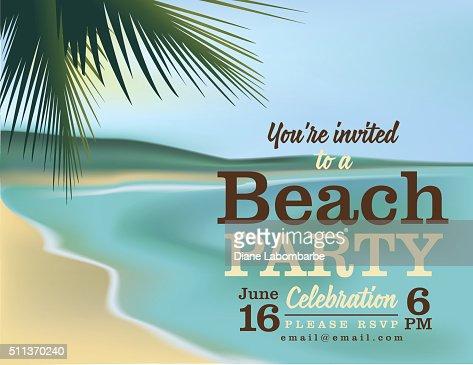 Summer Pool Or Beach Party Invitation Vector Art – Beach Party Invitation