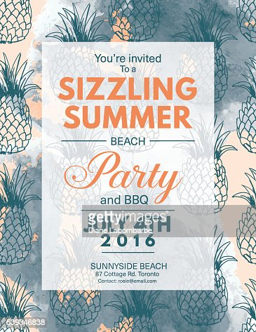 summer beach party invitation with ocean and sand dollar vector, Party invitations