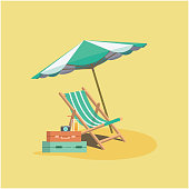 Summer Beach Umbrella Chair Baggage Yellow Background Vector Image