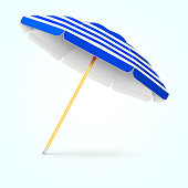 Summer beach umbrella, parasol. Sun protection vector concept. Shade from sunlight illustration