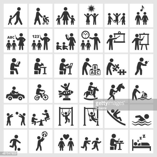 Summer Camp and Child DayCare royalty free vector icons