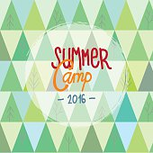 Summer camp for kids background with trees and mountains abstract pattern. Vector illustration.