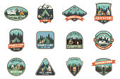 Set of Summer camp badges. Vector. Concept for shirt , print, stamp, travel badges or tee. Vintage typography design with rv trailer, camping tent, campfire, pot on the fire, axe and forest silhouette