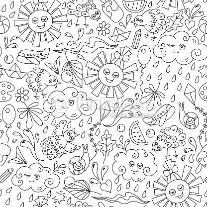 Verano Dibujos De Patrones Sin Fisuras El Sol Nube Gotas De Agua ...