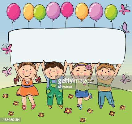 Summer children hold blank banner : Vector Art