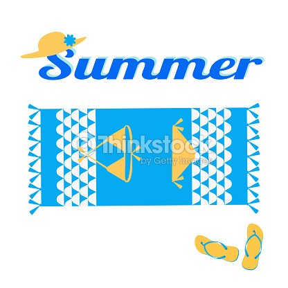 6ec15fa97befca Summer Creative Design Template Beach Towel Swimsuit Slippers Hat ...