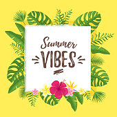 Vector cartoon style summer design for season postcard or poster with floral square composition with tropical leaves at the edge. Colorful vibrant template for print. Summer vibes text.