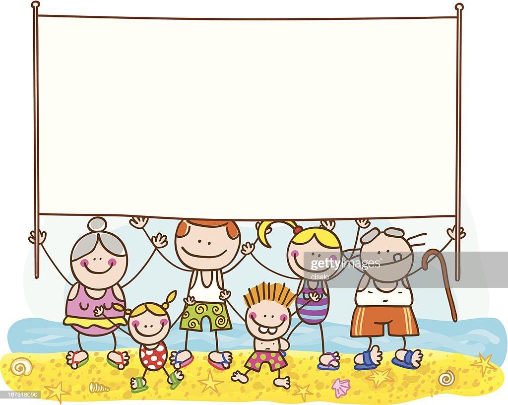 Summer Family with Banner Vector Cartoon Illustration : Vector Art