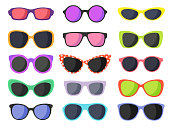 Summer fashion sunglasses set isolated on white background. Vector illustration