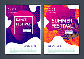 Summer dance party. Abstract poster for electronic music festival. Guilloche line and dynamic fluid background.