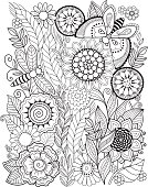 Coloring book for adult. Summer flowers. Vector elements.
