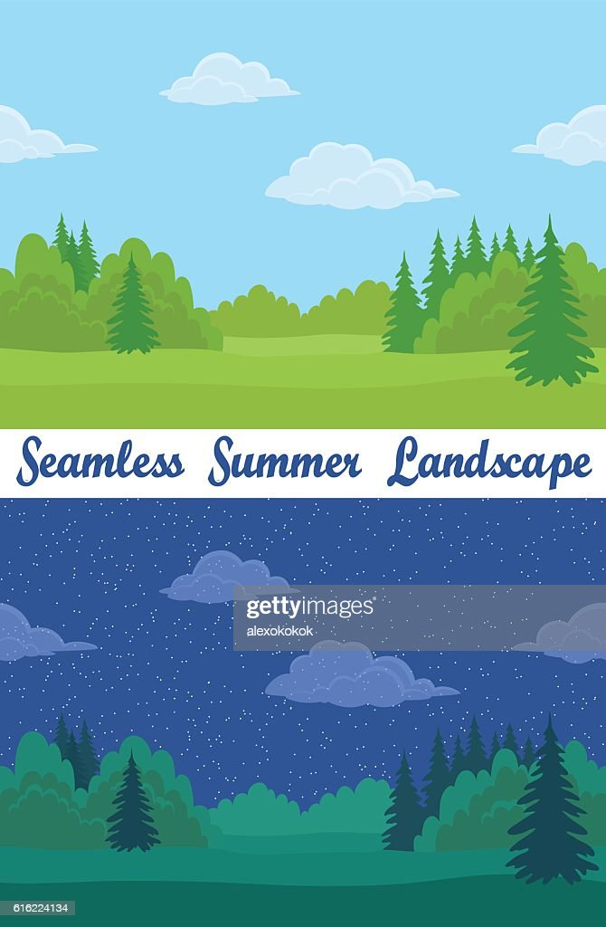 Summer Forest, Seamless Landscapes : Vektorgrafik