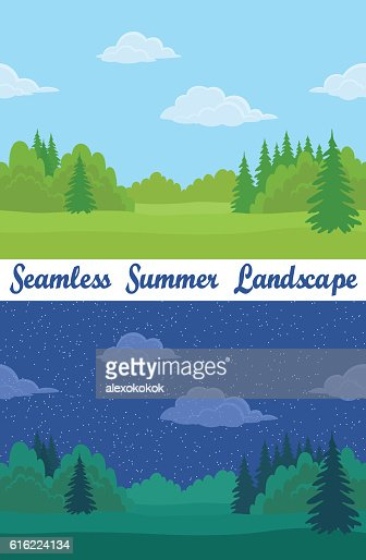 Summer Forest, Seamless Landscapes : Vectorkunst