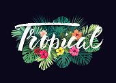 Summer hawaiian design for card or flyer with exotic palm leaves, hibiscus flowers and lettering. Vector illustration.