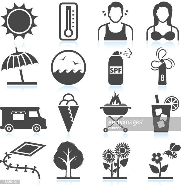 Summer Heat and Leisure Activities black & white icon set