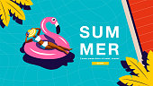 Summer Holiday, Poster Design ,Banner template, sunshine  , tropical, vacation, Vector Illustration.