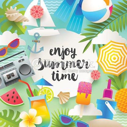 sommerferien und strand urlaub dinge und gegenstände vektorgrafik | thinkstock