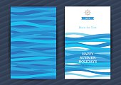Bright Summer Holidays cards with sea elements. Sea pattern with blue waves. Place for your text. Template frame design for banner, placard, invitation. Marine life vector background.