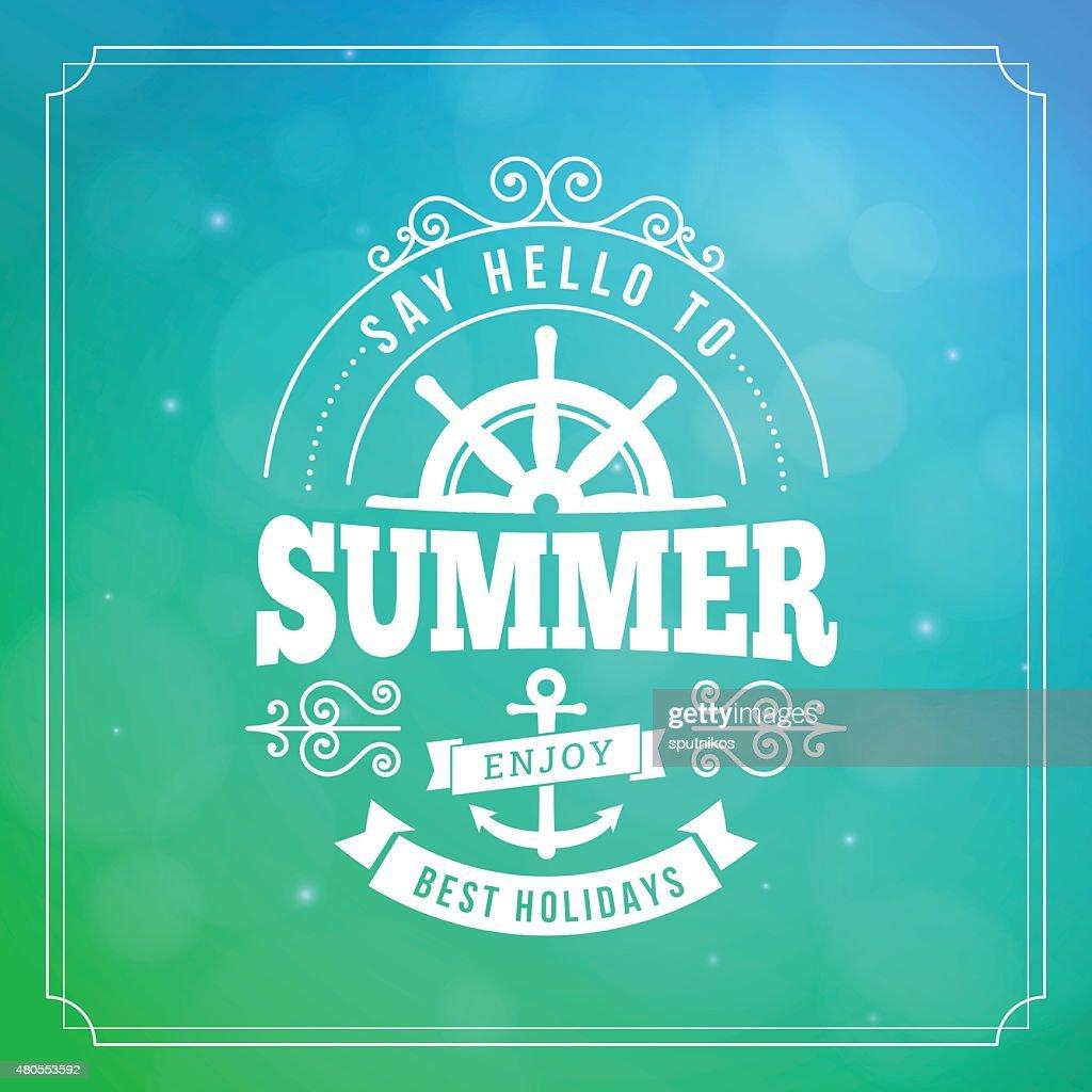 Cartel de verano vacaciones tipografía : Arte vectorial