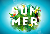 Summer illustration with toucan bird and parrots beak flower on tropical background. Exotic leaves with holiday typography element. Vector design template for banner, flyer, invitation, brochure, post