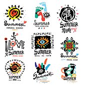 Summer illustrations and symbols. Modern summer paint. Logo handmade on the theme of summer and relaxing. Modern urban style.