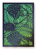 Summer jungle foliage greeting card. Palm leaves laser cut illustration.