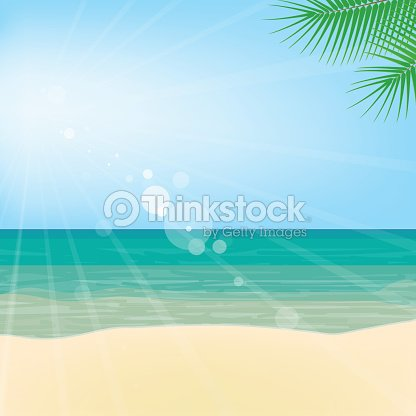 Summer landscape. Clear weather, sunny day at sea. Sea landscape, vector