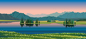 Summer vector landscape with green forest, calm lake, blooming flowers and mountains on a sunset sky. Nature illustration.