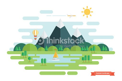 Summer landscape. Nature landscape with sun, mountains and clouds.
